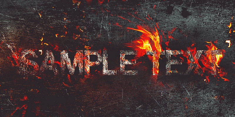Create Fire Burning On Metal Text Effect