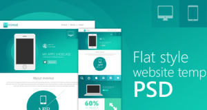 Flat Style Website Template PSD for Free Download – Freebie No: 85