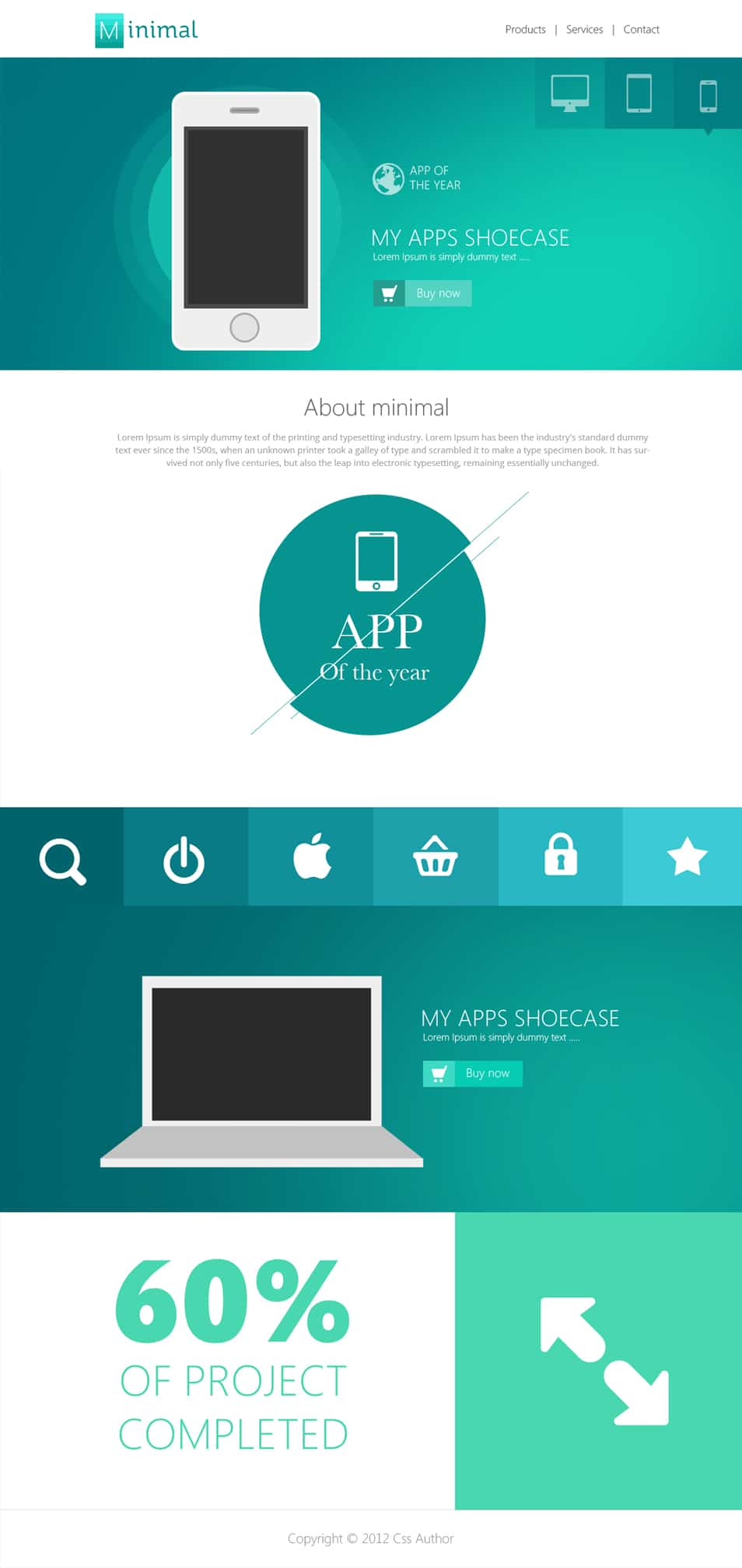 Flat Style Website Template PSD