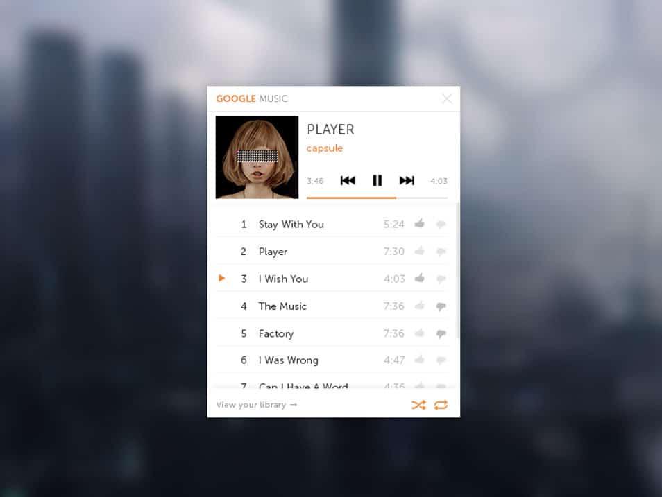 Google Music Mini Player PSD