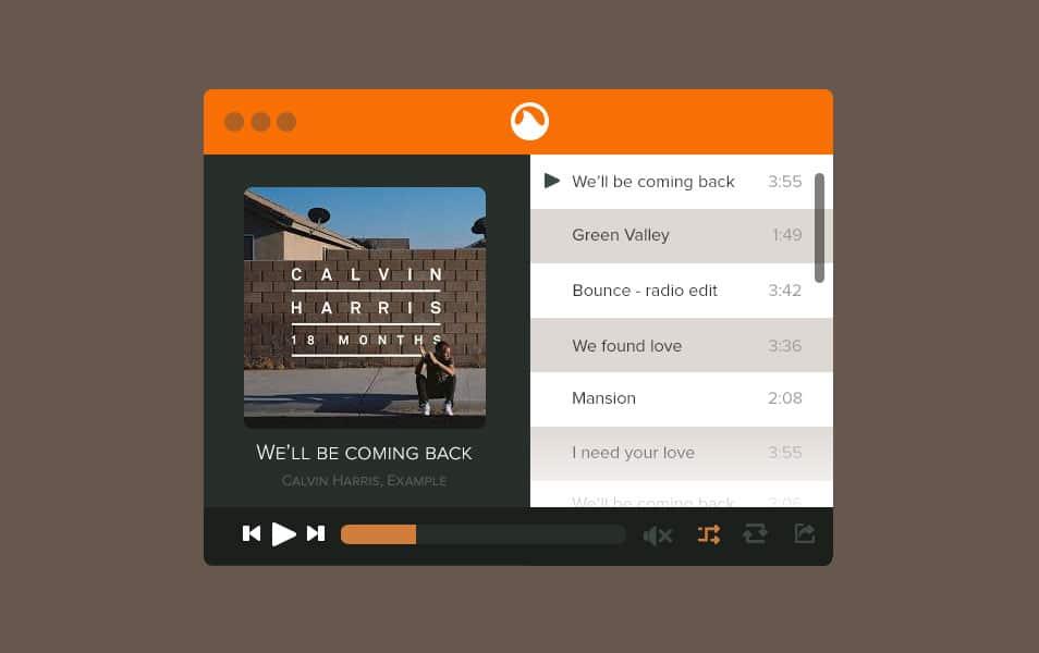 Grooveshark Mini Muisc Player PSD