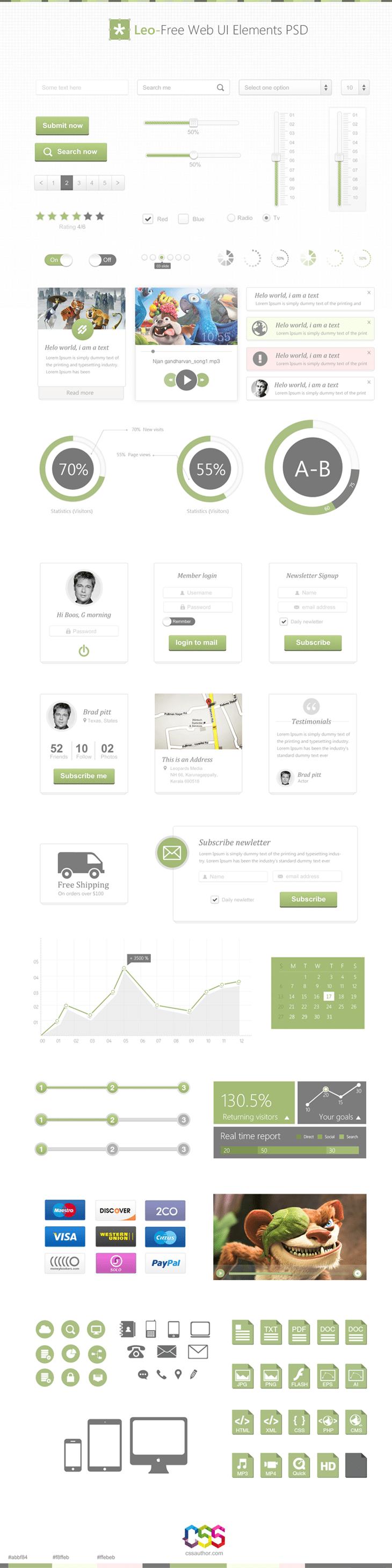 Leo - Free Web UI Elements PSD for Free Download - cssauthor.com