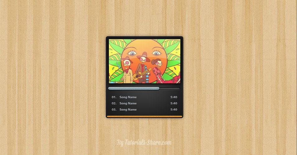 Mini Music Player UI PSD