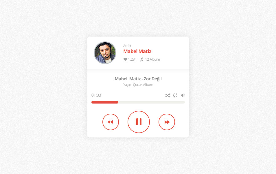 Minimal music player PSD