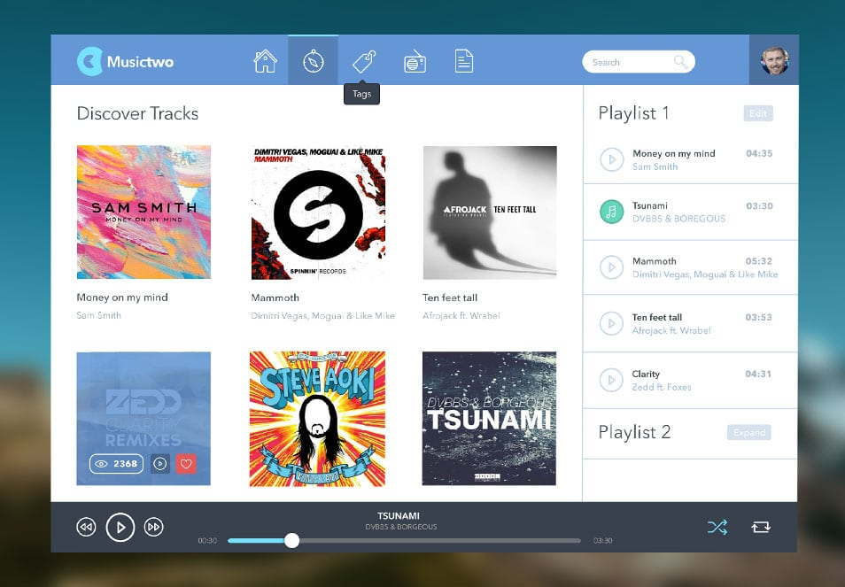 Musictwo Music Player PSD