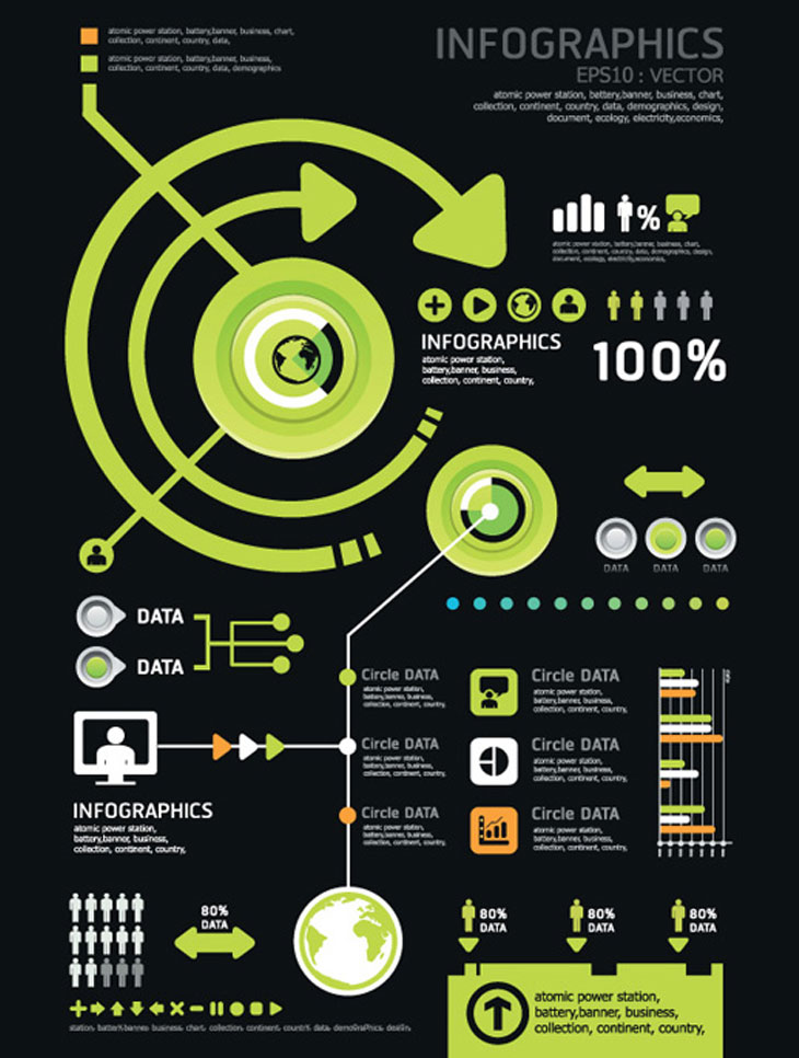 Set-of-Year-Infographic-and-diagram-vector-material
