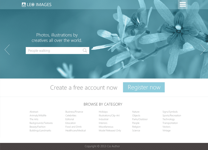 Stock Photos Website Template PSD for Free Download - cssauthor.com