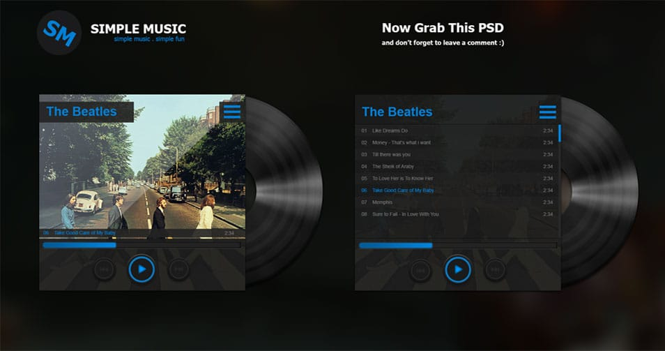 Vinyl Music Player Free PSD