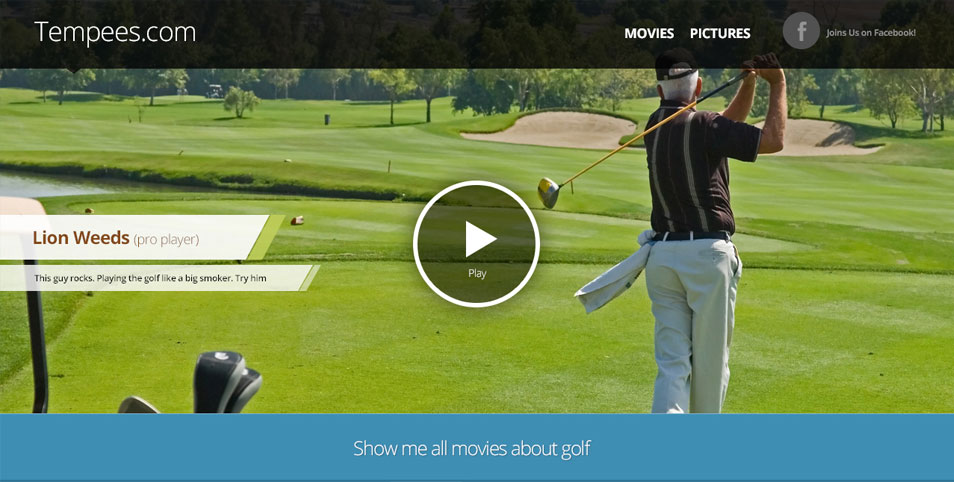 Website header with movie player