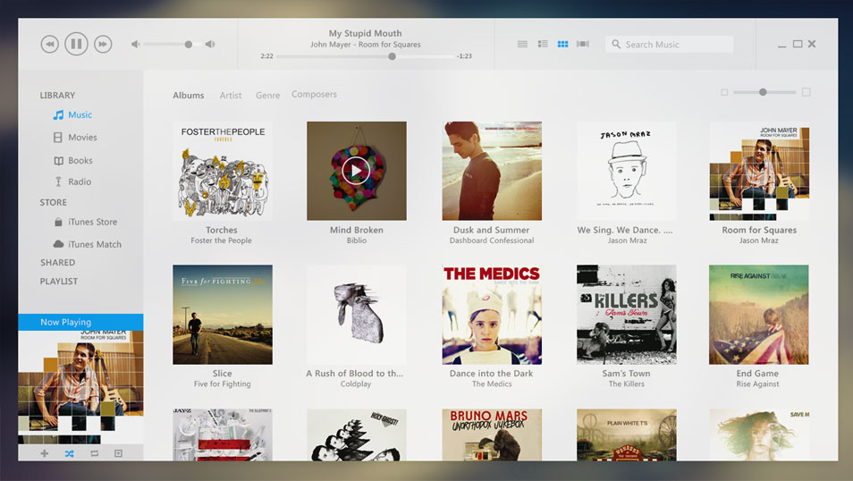 iTunes UI Redesign with PSD