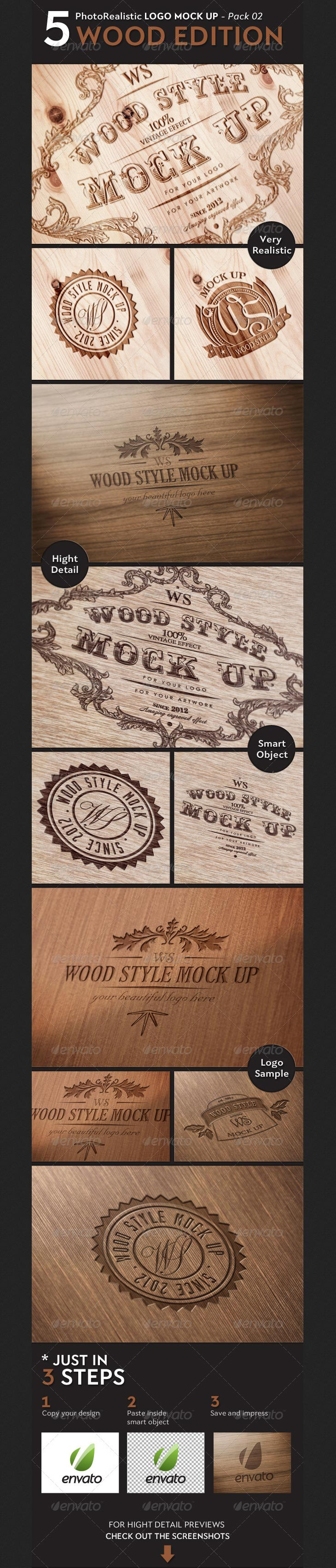 5 Realistic Logo Mock Up - WOOD Edition