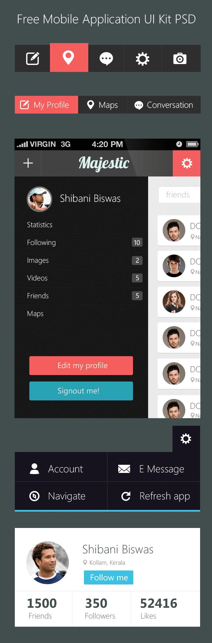 Free Mobile Application UI Kit PSD - cssauthor.com