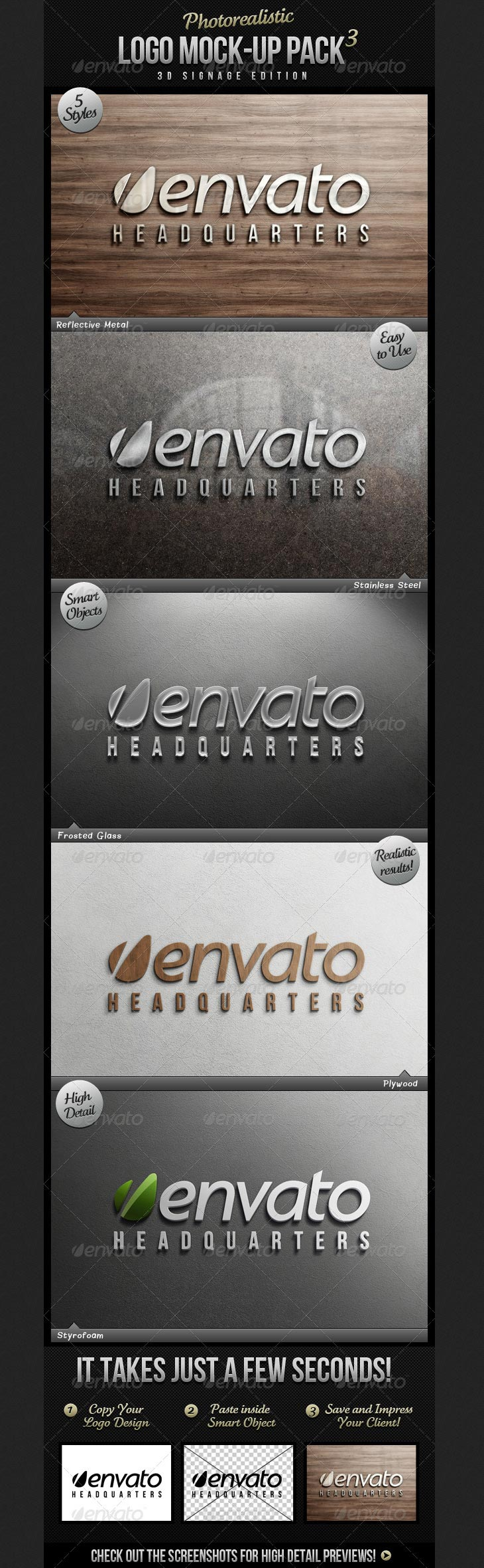 Photorealistic Logo Mock-Up Pack 3