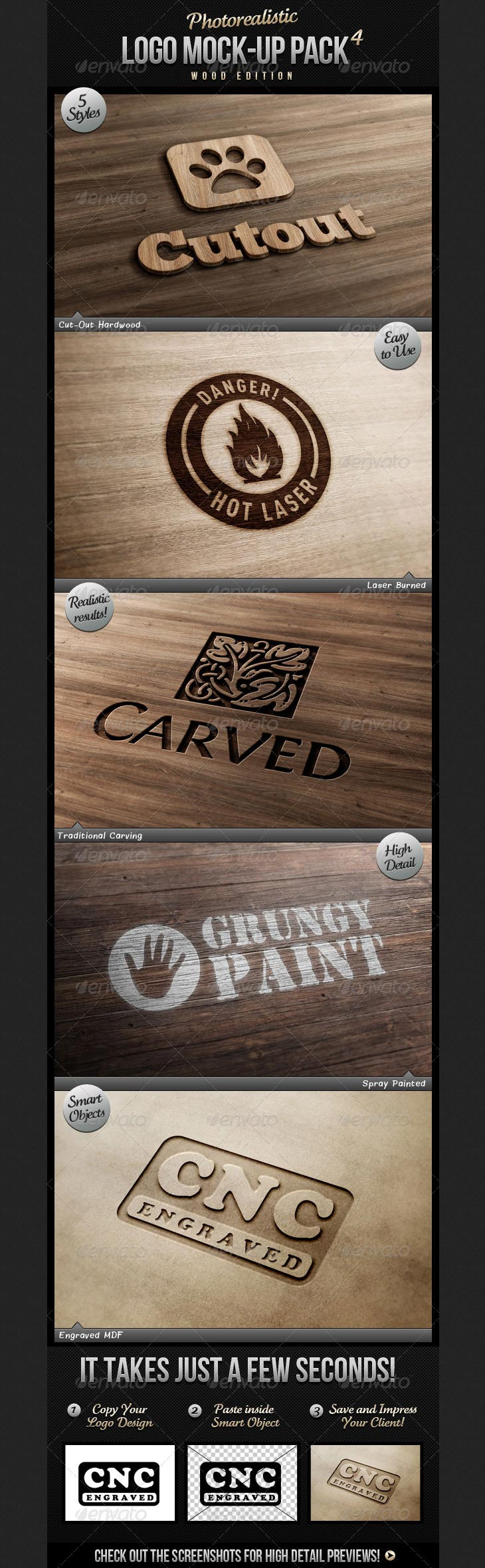 Photorealistic Logo Mock-Up Pack 4 - Wood Edition