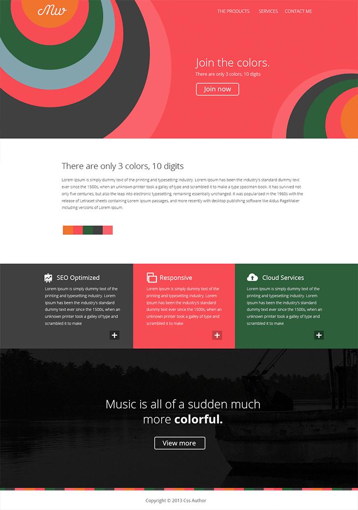 Flat Style Web Template PSD - cssauthor.com