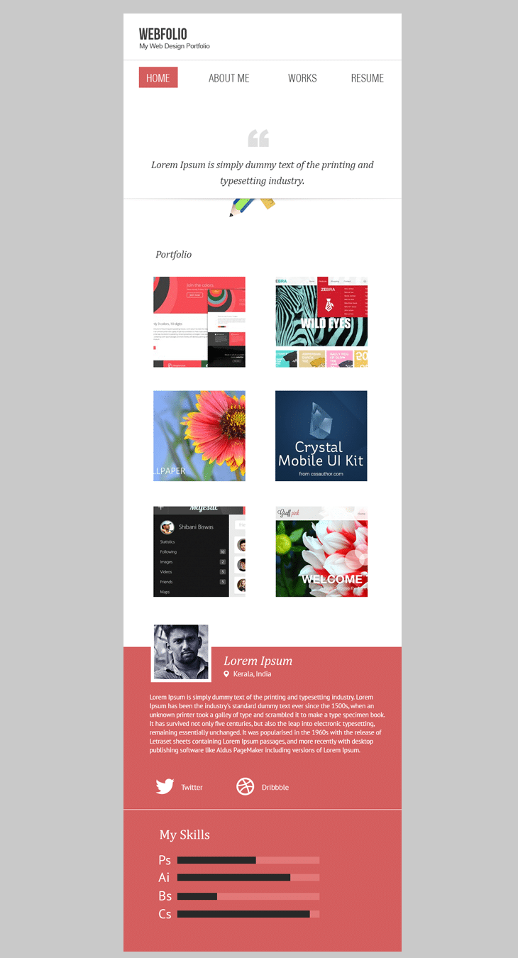 Minimal Portfolio Template PSD (Mobile Version) - cssauthor.com