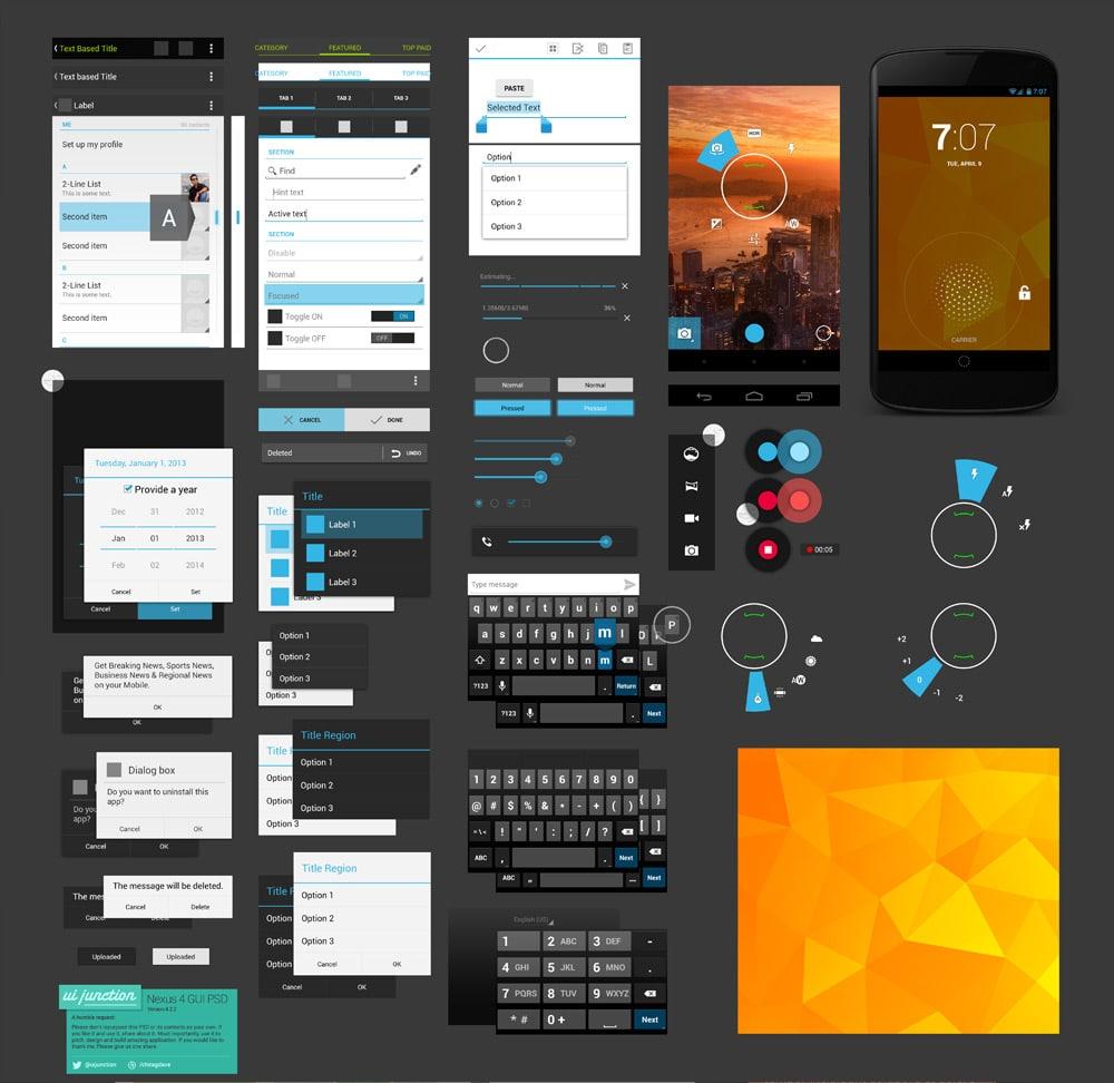 Free Flat GUI Templates » 25 Best Free Flat style UI Design KIts