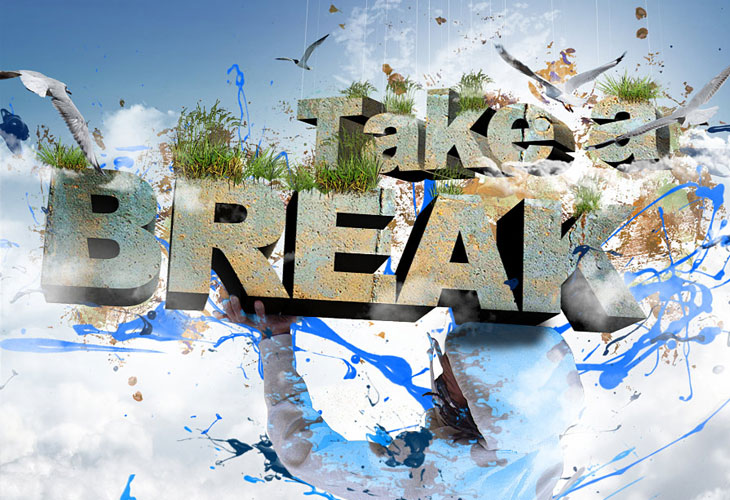 Take-a-Break-3D-Text-Composition