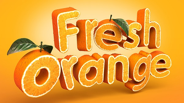 3D Fruit-Textured Text Effect