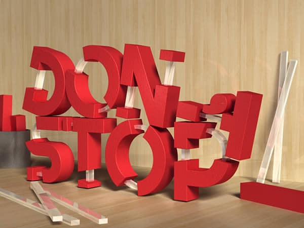 3D Rubber and Glass Text