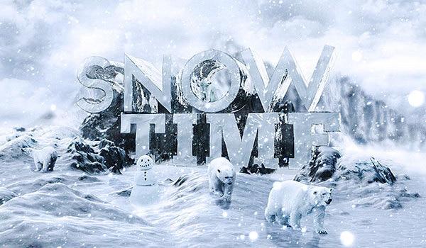 3D Snow Text Effect