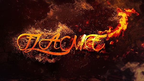 3D Text Surrounded by Flame