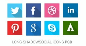 Long Shadow Social Icons PSD – Freebie No: 107