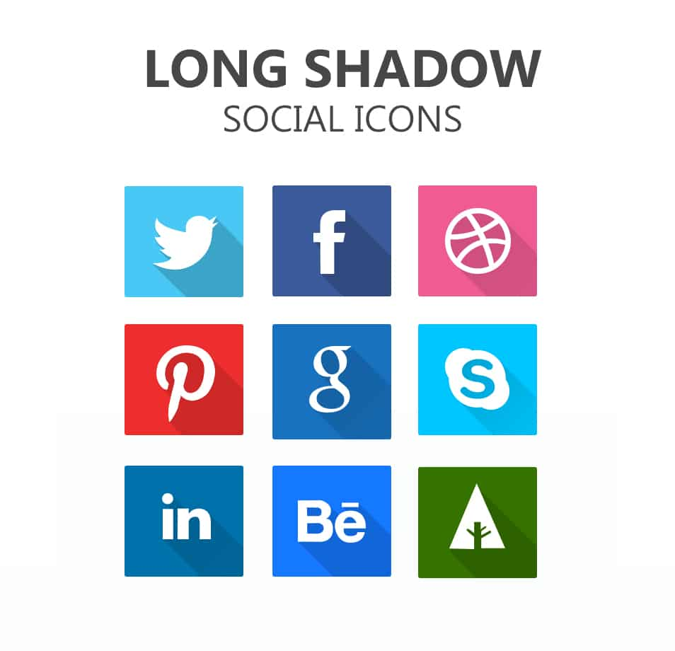 Long Shadow Social Icons PSD - Freebie No: 107