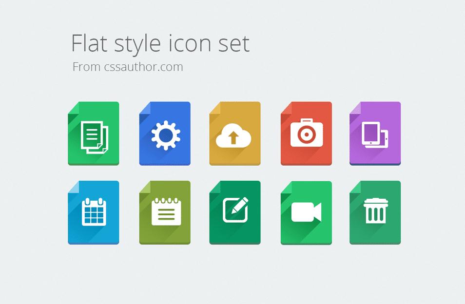 Modern Flat Style Icon Set - cssauthor.com