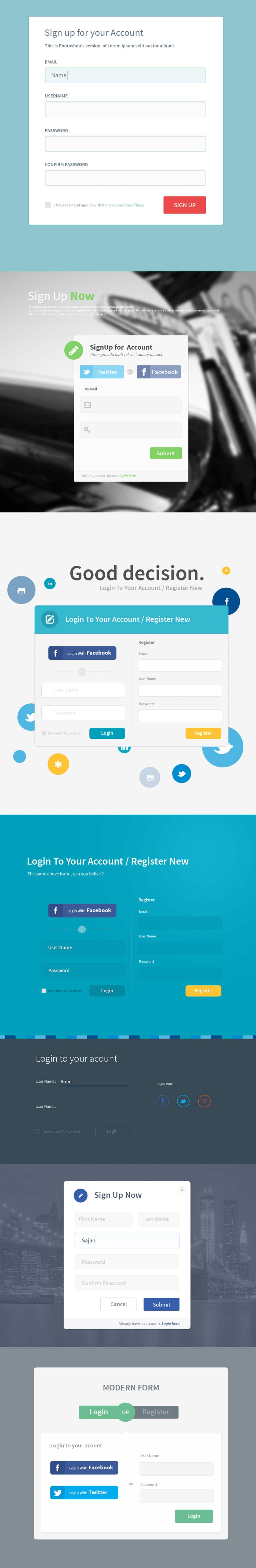 7 Registration Form Templates PSD
