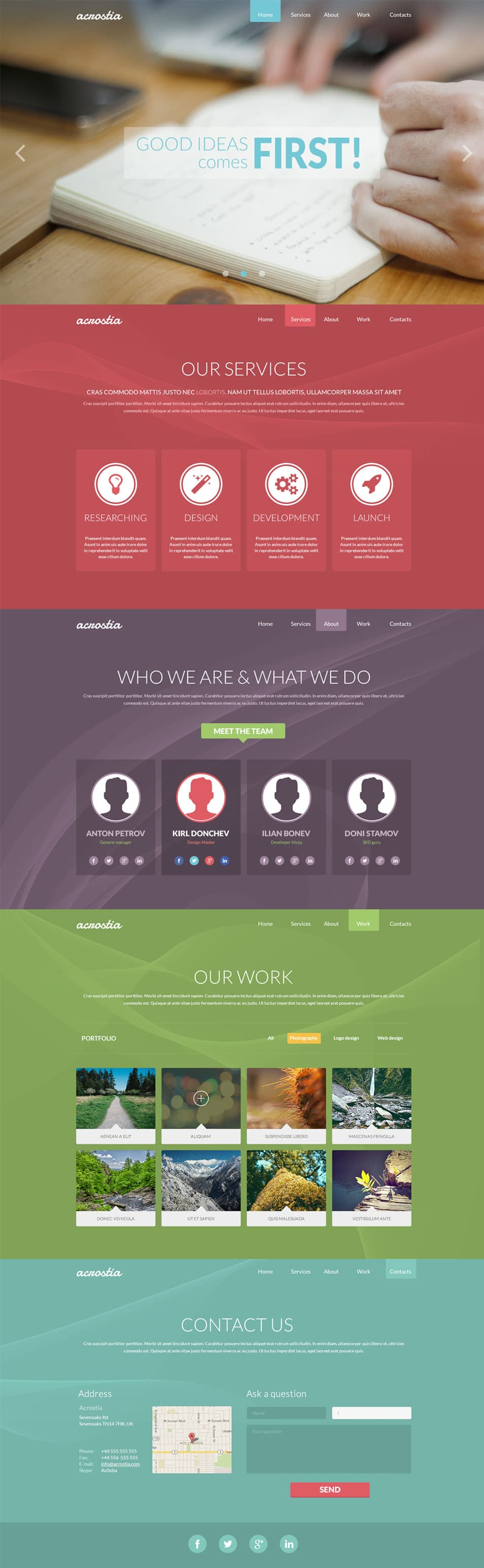 Acrostia – free one page template