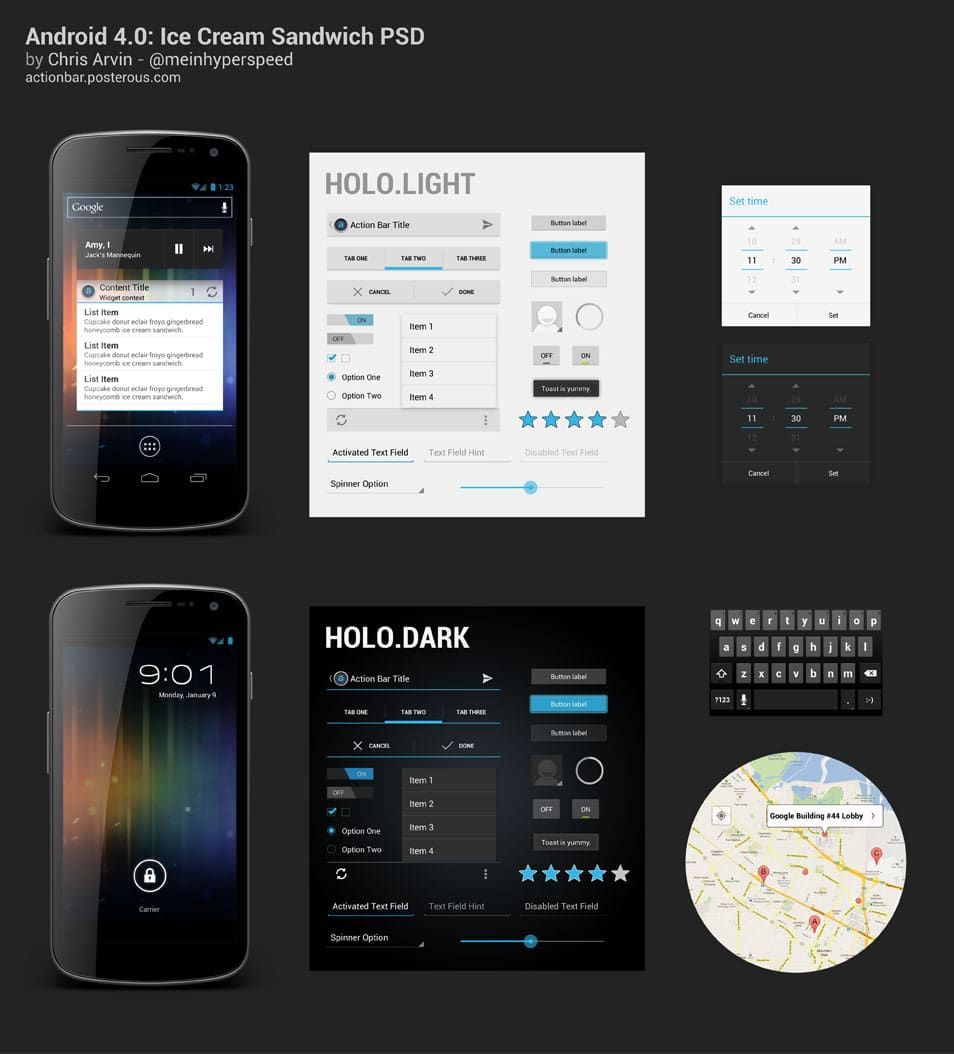 Android 4.0 UI PSD