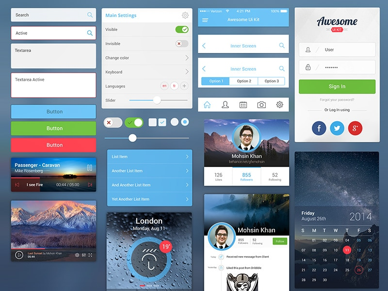 Awesome UI Kit PSD for Mobile