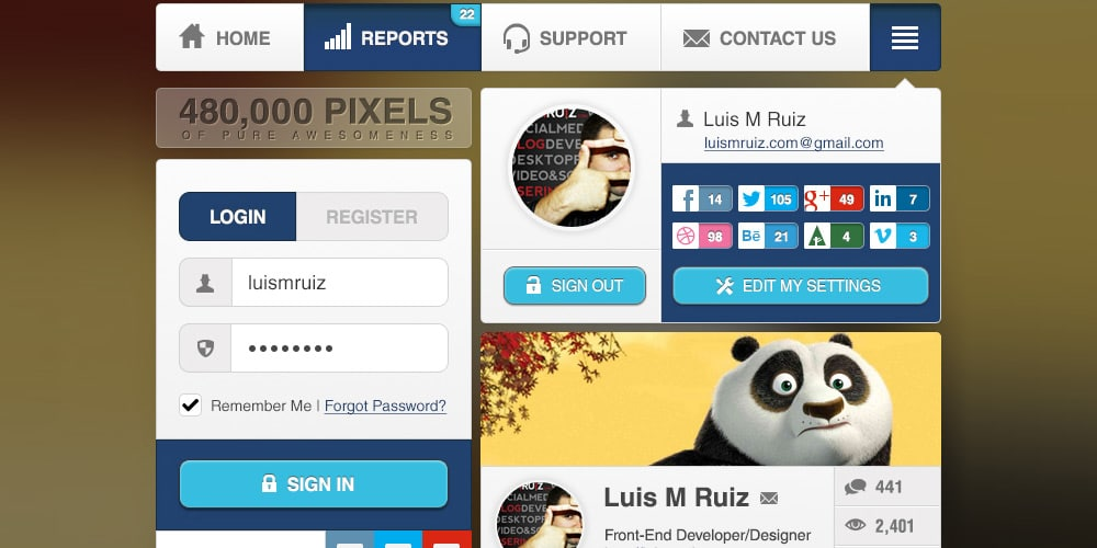 Awesomeness UI Widgets Free PSD