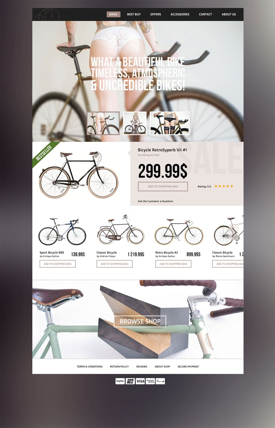 Bicycle Shop Online - ECommerce Website Template