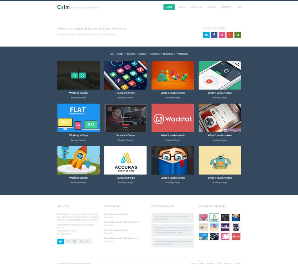 Calm l Free Creative Simple Portfolio & Blog PSD