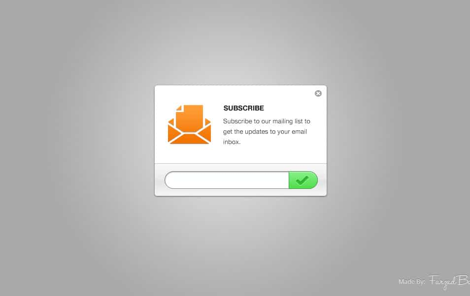 Clean Email Newsletter Subscription Form PSD