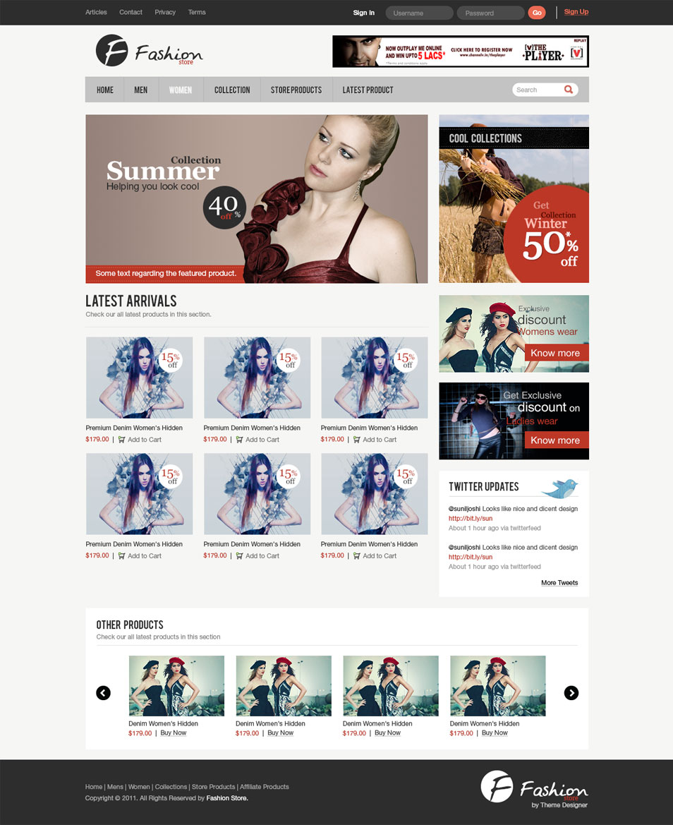 Clean e-Commerce Web Template PSD