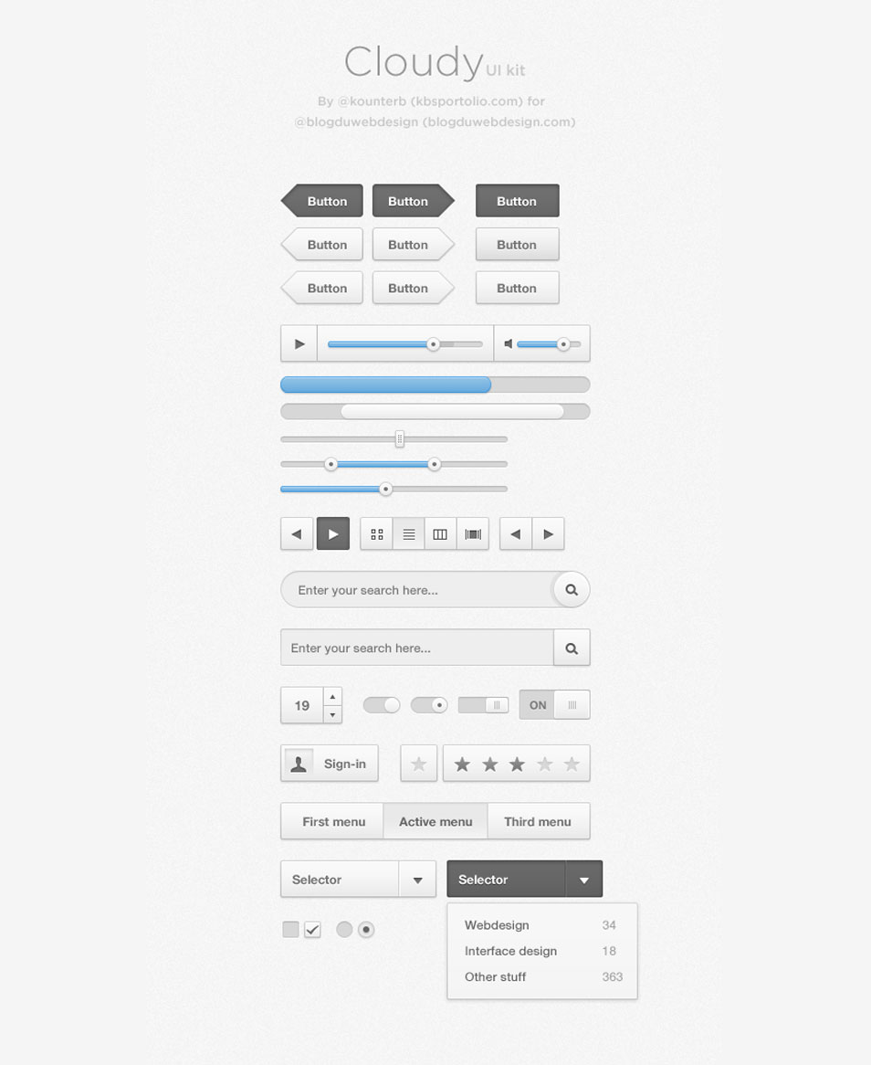 Cloudy UI Kit PSD