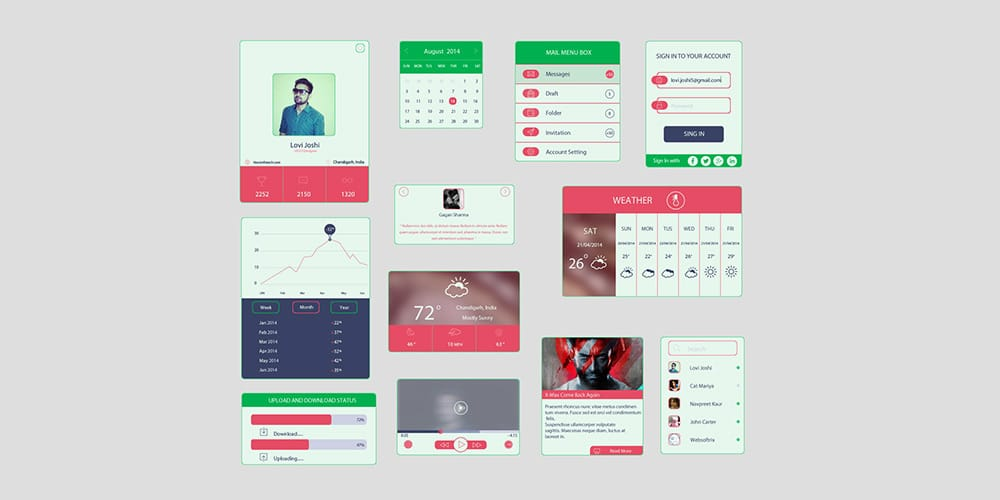 Colored UI Kit In Flat Design