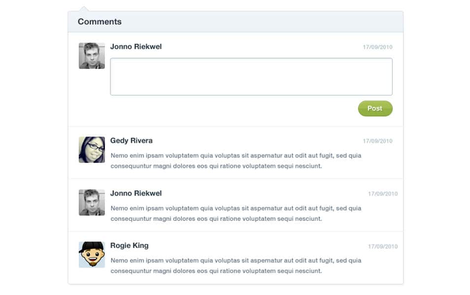 Comment Form User Interface