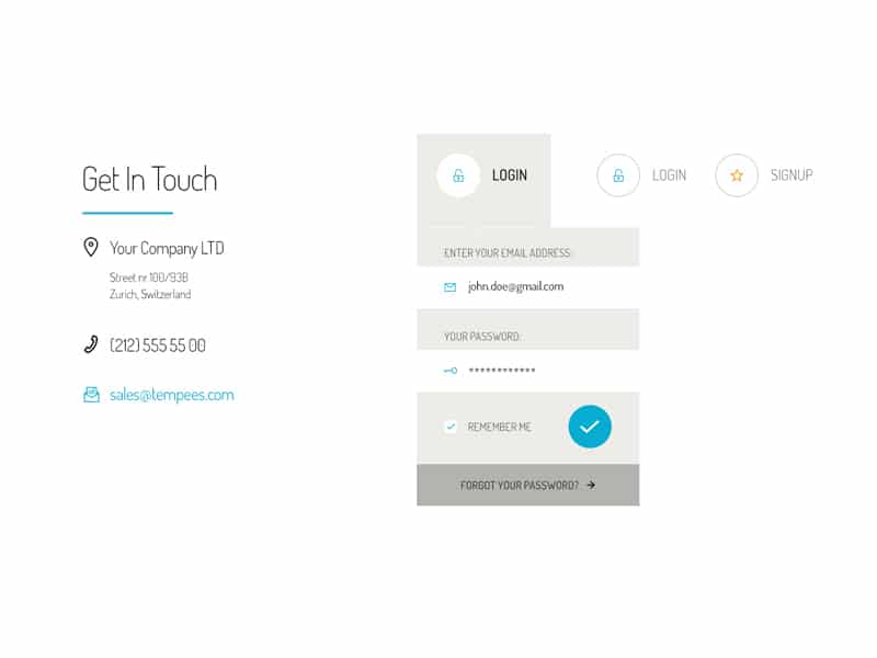 Contact and Login Form PSD
