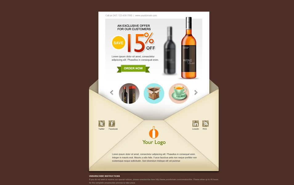 Creative email newsletter PSD template