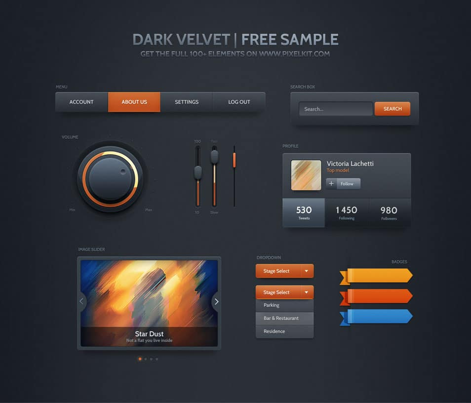 Dark Velvet UI Kit Free PSD