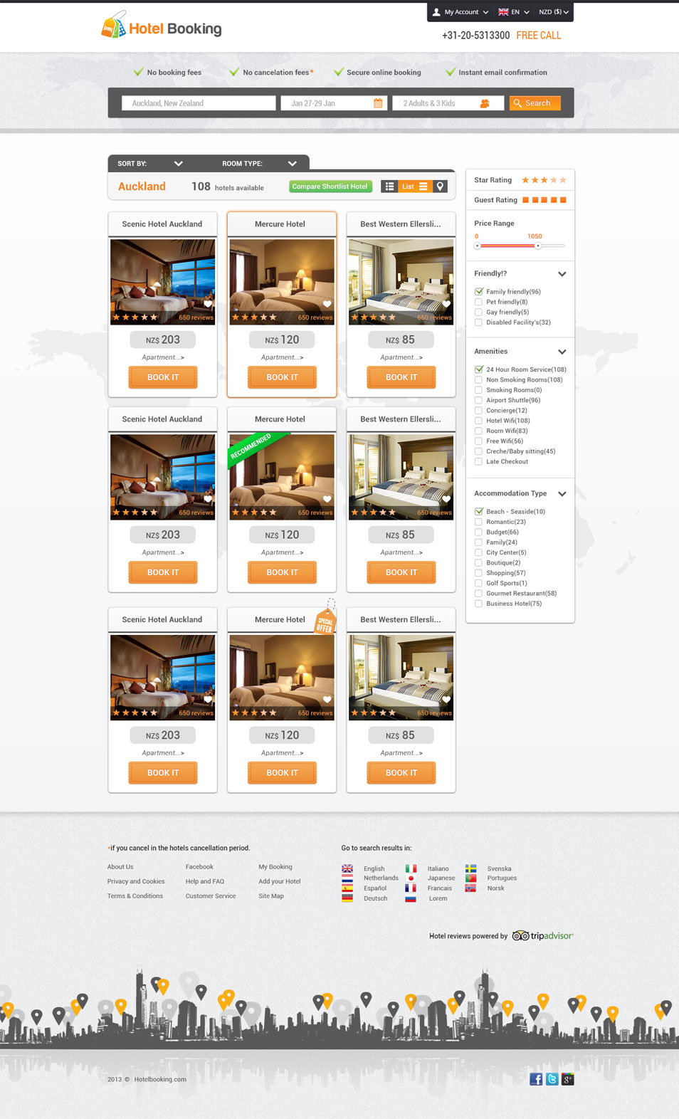 Detailed Hotel Booking Listing Web Layout PSD Template
