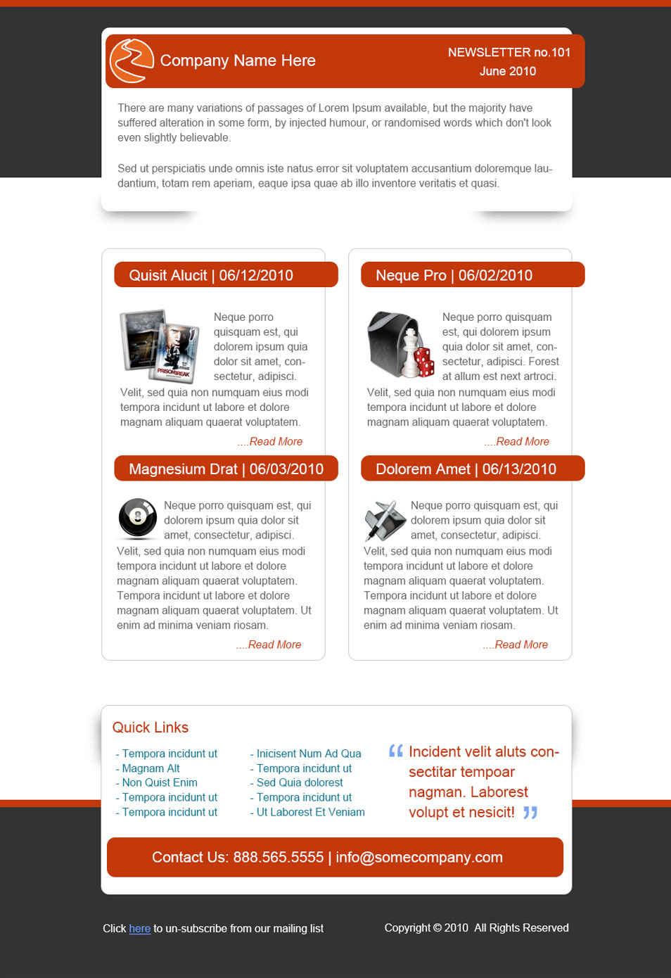 E-Solutions: Free PSD Email Newsletter Template