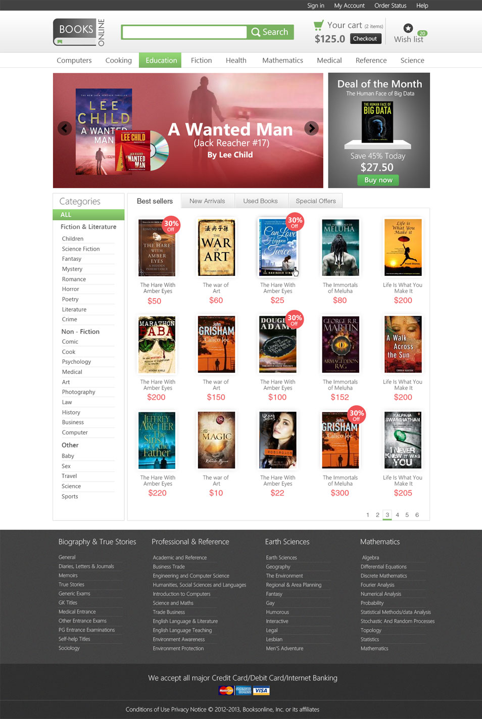 E-commerce Template PSD for Online Bookstore - cssauthor.com