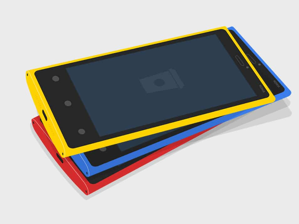 FREE PSD - Flat NOKIA Lumia 920 3D MockUp