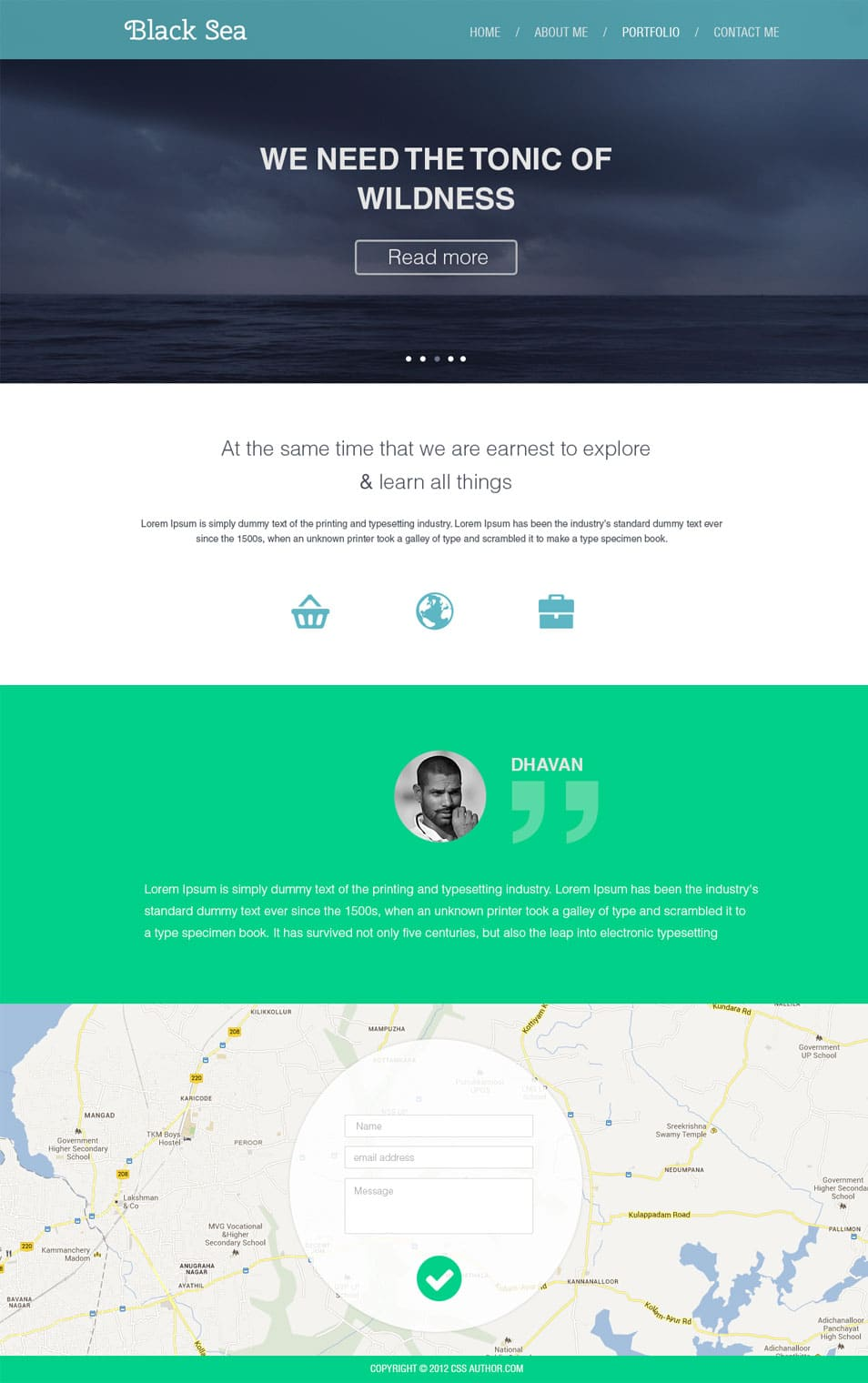 Flat Style Business Template PSD - cssauthor.com