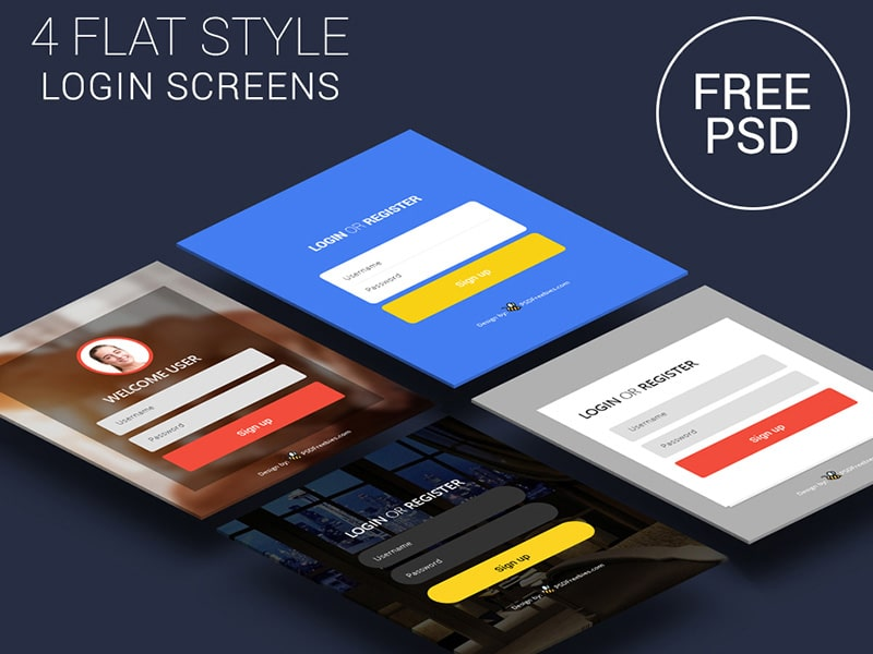 Flat Style Login Screens PSD
